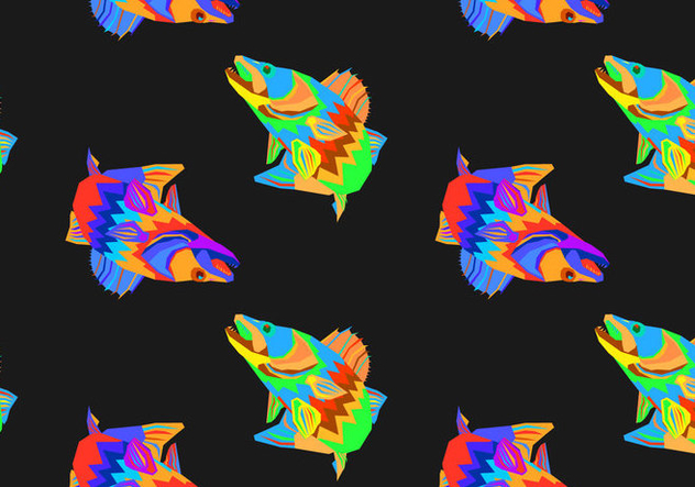 Free Walleye Seamless Pattern Vector Illustration - бесплатный vector #405401