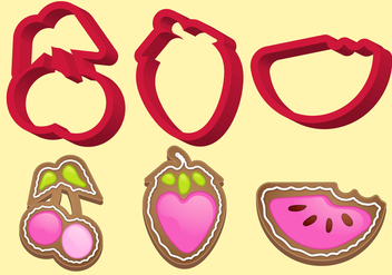 Cookie Cutter Fruit Vector Set B - бесплатный vector #405571