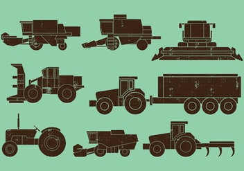 Agriculture Machines Tractors Combine Icons - vector #405871 gratis