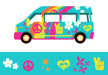 The Psychedelic Rainbow Bus from Hippy Town - бесплатный vector #406181
