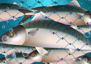 Fish Trap In Net - vector gratuit #406281