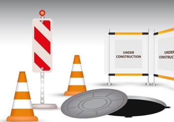 Manhole With Cone And Board Warning - vector gratuit(e) #406531