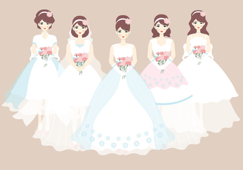 Bride and Bridesmaid Dress Vector - бесплатный vector #406941