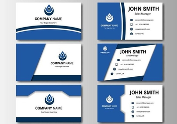 Free Business Blue Name Card Vector - бесплатный vector #407101