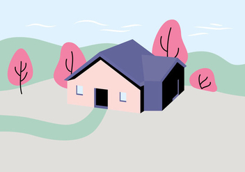 House Landscape Illustration - Free vector #407401