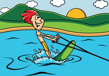 Guy Playing Water Skiing In The Lake - vector gratuit #407441