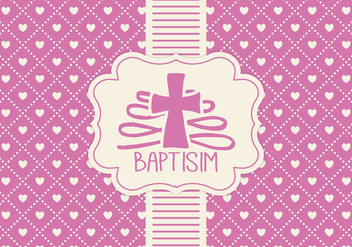 Pink Baptisim Card Template - Kostenloses vector #407451