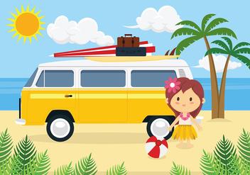 Hippie Bus Free Vector - Kostenloses vector #407471