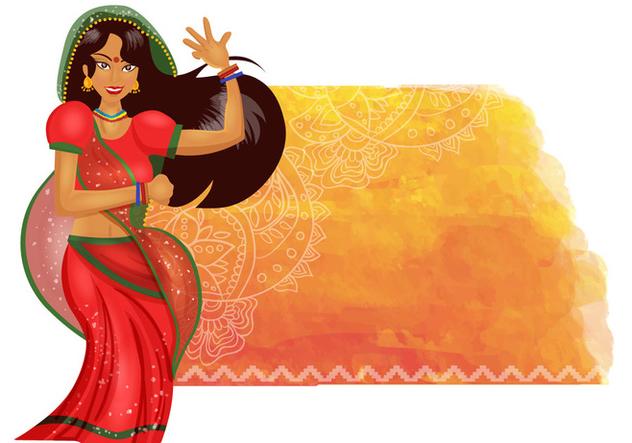 Indian Woman Dance Background - vector #407781 gratis