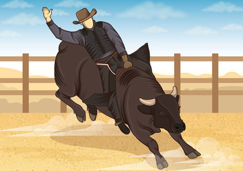 Illustration Of Bull Riders - vector gratuit #407831
