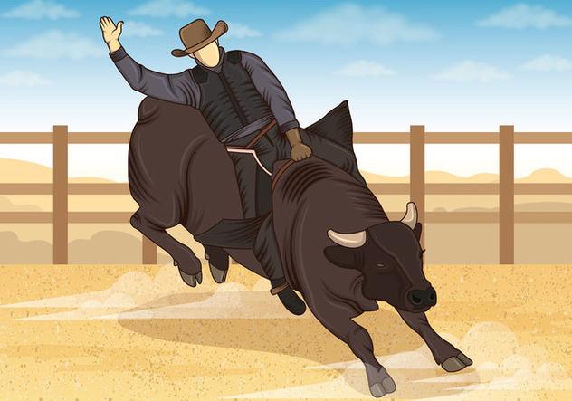 Illustration Of Bull Riders - vector #407831 gratis