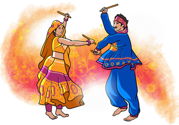 Garba Dancer - Free vector #408281