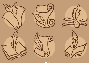 Classic Writing Poem Icons Vector - Free vector #408371