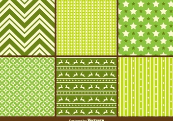 Green Christmas Vector Patterns - Free vector #408521