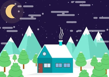 Free Vector Winter Night Landscape - Free vector #409021