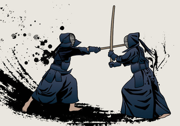 Fight By Kendo Sword - Free vector #409541
