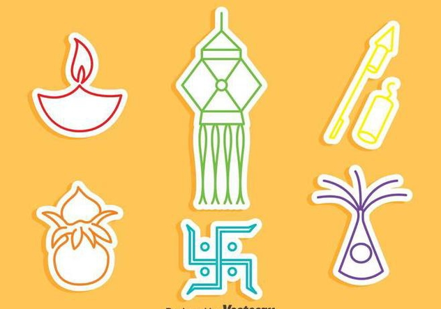 India Festival Element Icons Vector - Free vector #409551