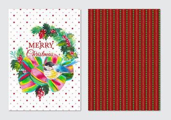 Watercolor Free Vector Christmas Card - Free vector #409981