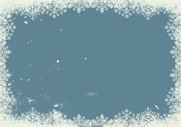 Grunge Snowflake Frame Background - Free vector #410791