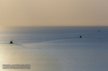 Sunset with fishing boats & palm. Phuket, cape Promthep - бесплатный image #411381