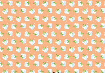 Cotton Flowers Seamless Pattern - vector gratuit #411781