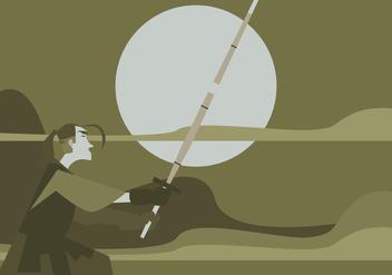 A Man Practices Kendo Vector - Free vector #411791
