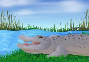 Gator In The River Illustration - Kostenloses vector #412351