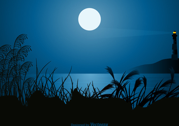 Free Seascape At Night Vector Illustration - Free vector #412521