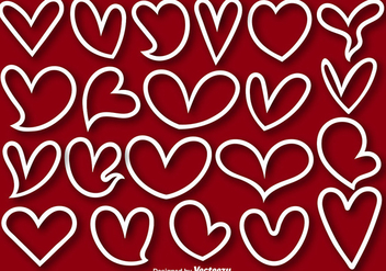Collection Of 21 Heart Lined Shapes - Vector - Free vector #412751