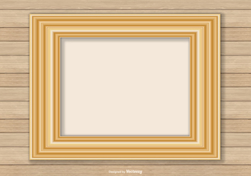 Gold Frame On Wood Wall Background - vector gratuit #413341