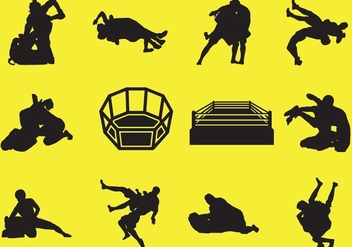 Silhouette Of Wrestling - Free vector #413421