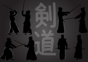 Kendo Action Silhouette - Free vector #414071
