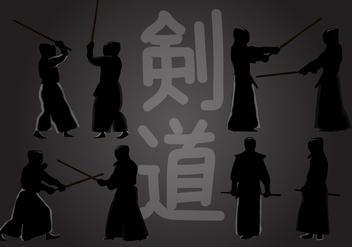 Kendo Action Silhouette - Kostenloses vector #414071