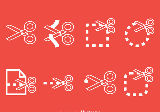 Scissor Cutting Line Icons Vector Set - Free vector #414371