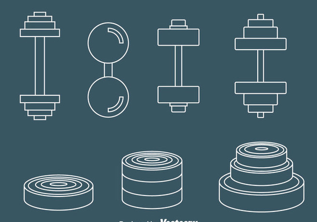 Dumbell Line Icons Vector - Free vector #414391