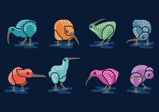 Set Vector Image of Nice Kiwi Birds Minimalist style - Kostenloses vector #414441