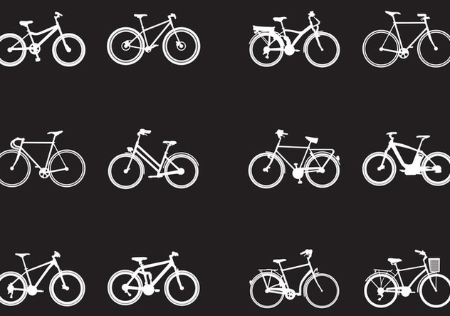 Silhouette Of Various Kinds Of Bicycle - Free vector #414541