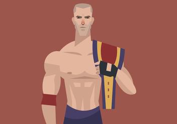 Wrestler With Wrestling Champion Belt Vector - Free vector #414741