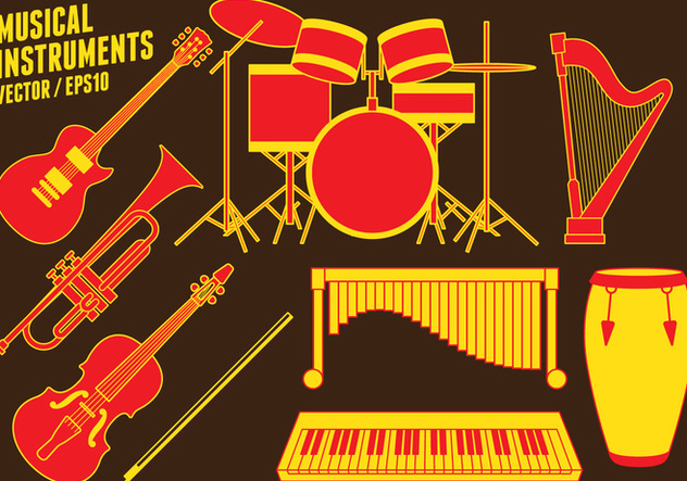 Musical instruments Icons - vector #414881 gratis