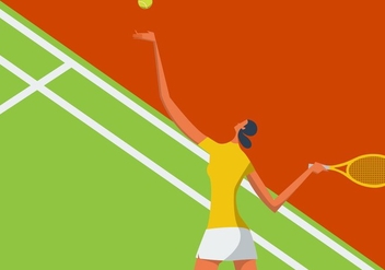 Illustration Of Woman Playing Tennis - vector gratuit #415051