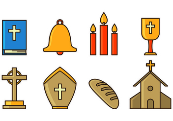 Set Of Holy Week Icons - Free vector #415371