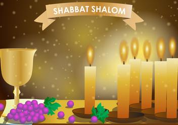 Shabbat Shalom Candle - Free vector #415561