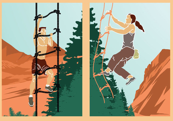 Rope ladder adventure climbing illustration vector stock - Free vector #415601