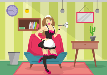 Beautiful French Maid Vector Design - Free vector #416041