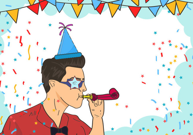Man Blowing A Party Blower - vector gratuit #416161