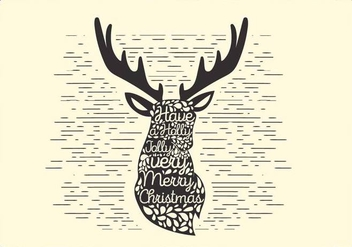 Free Christmas Vector Reindeer Typography - Free vector #416691