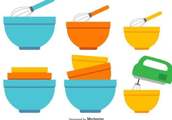 Mixing Bowl Vector Icons - Free vector #416861