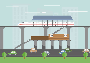TGV station train vector flat illustration - vector gratuit #417941