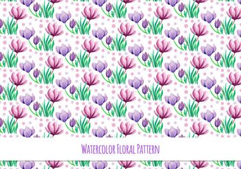 Free Vector Watercolor Pattern with Beautiful Flowers - Free vector #418101