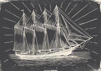 Vintage Ship Illustration - Free vector #418111